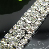 Wholesale MIC Row Costume Applique Crystal Rhinestone Trims Silver x Yard Wedding Decorations