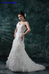 Wholesale Custom Made Modern Wedding Dresses V Neck Bridal Gown Lace Applique Crystal Ruffle Wedding Gown