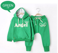 Wholesale Lovely Wing angel Children tracksuit Hoodies harlan pants boy girls suits Y kids clothes set