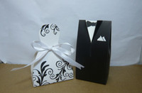 Favor Boxes White Paper Bride and Groom Favor boxes with patterm 100pcs lot(50pairs) For candy boxes and wedding favors