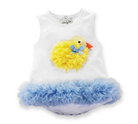 duck Girl Sleeveless Summer infant clothes cute duck cartoon lace ball gown baby rompers girls jumpsuits boydsuit