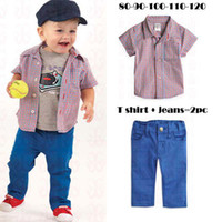 Wholesale Spring Summer Cotton Baby Set Shoirt Sleeved Checked T Shirts Denim Jeans T pc
