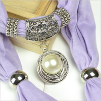 scarf necklace - White pearl pendant scarf charm flower ring jewelry scarves necklace