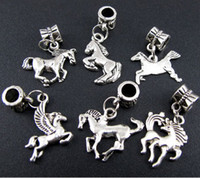 Wholesale MIC p Mix Tibetan Silver Horse Dangle Beads Fit Charm Bracelet Jewelry DIY