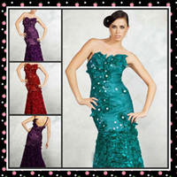 Reference Images Strapless Satin WoW! New Sexy Luxury Mermaid Strapless Handmade Flower Beads Full Length Satin Prom Evening Dresses