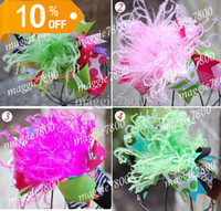 Wholesale 6 quot Over the Top Large Boutique babys Hair Bows hair clips handmade holiday hairbows feather A406
