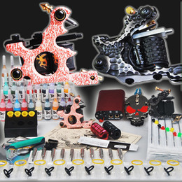 Wholesale USA Dispatch Professional complete cheap tattoo kits guns machines ink sets equipment power grips tips needles MGT