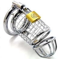 Wholesale Sex Padlock Chastity - Wholesale - Male chastity device Steel Chastity Cock Penis Cage with Ring & Padlock Sex Toys for men