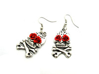 Wholesale Day of the Dead Dia de los gun pistole steampunk alloy pirate rose flower Mexican Earrings ER519