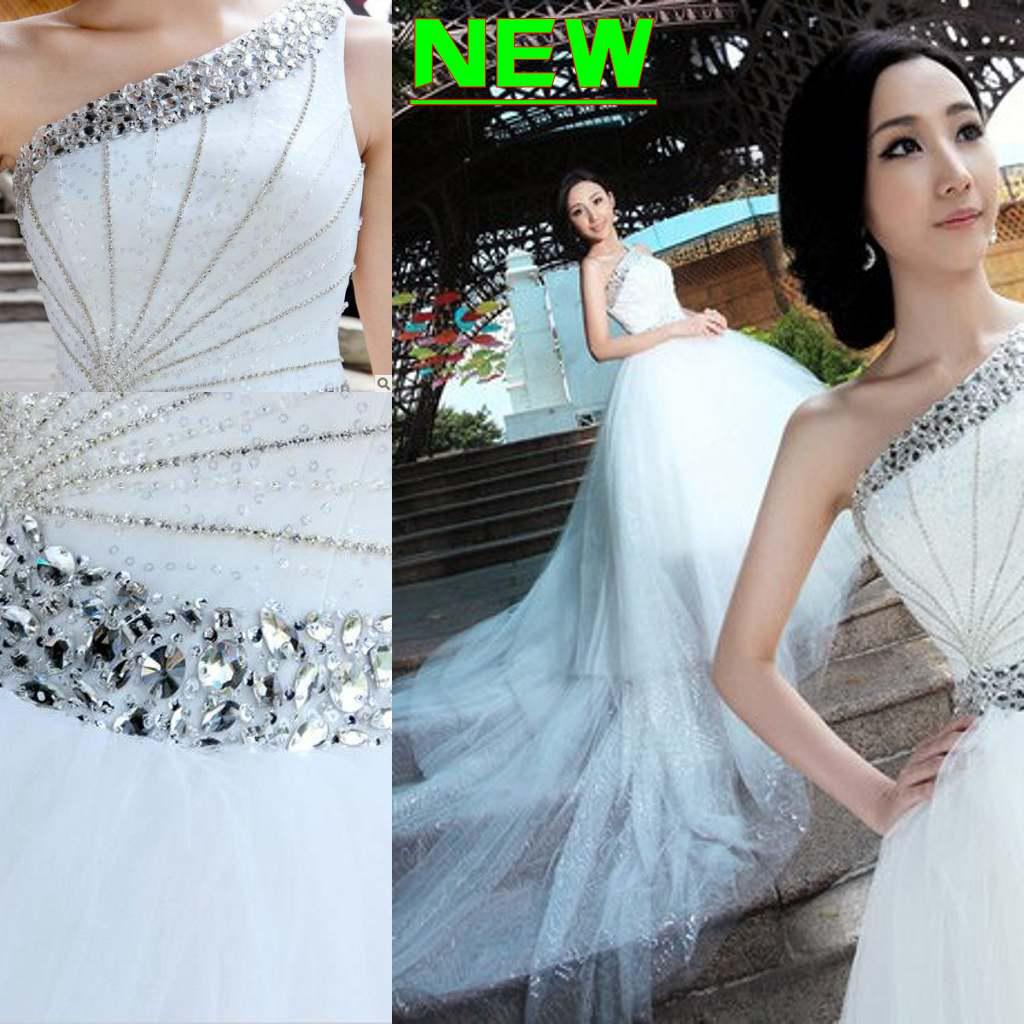 Discount 2013 Gorgeous A Line High Low One Shoulder Sequin Ruffle ...
