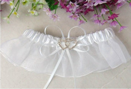 Wholesale 2heart jewel ribbon bow white bride garters