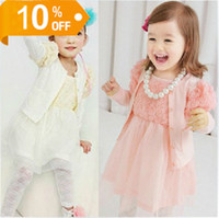 Wholesale children spring girls lace flowers cardigan jacket harness dresses suit set dandys
