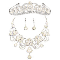 Wholesale bridal wedding jewelry Accessories Tiaras amp Hair set of the bride crown earrings necklace T008