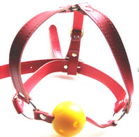 Wholesale Breathable Women Leather Head Harness Mouth Ball Gag SM Game Bondage Product Toy XLY370