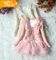 Wholesale 2012 Long Sleeve Autum Girls Clothing Set Coat Jacket Dress Tutu Skirt Pink Beige Girl Outfit