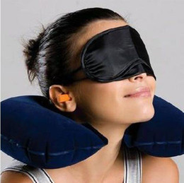 Wholesale Lowest Price sets Black Travel Neck Inflatable Air Pillow Eye Mask Ear Plugs