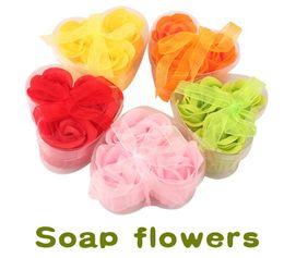 Wholesale Low Pric Bath Body Flower Heart Soap Rose Petal Gift Wedding Favor Colors Soap box