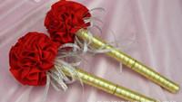 Wholesale Carnation flower Wedding Golden ink sign in pen Wedding Reception Guest Sign In Bridal Shower pens