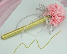 Wholesale Carnation flower Wedding Golden ink sign in pen Wedding Reception Guest Sign In Bridal Shower gift