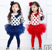 Wholesale baby girl s dress suit set bow wave dot long sleeved T shirt Net yarn gauze skirt legging P