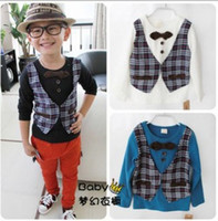 Wholesale EMS Free Boys Spring amp Fall Cotton T Shirt White amp Blank amp Blue Baby Shirts Boys Vest With Tie Bow