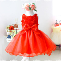 Wholesale Baby Girls Dress Sleeveless Lovely Rose Design Big Bowknot Voile Princess Dresses Shining Red Pink