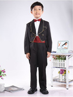 Wholesale Custom made boys tuxedos black boys suit wedding boys dress Jacket Pants tie gridle gallus