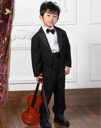 Wholesale Custom made boy tuxedos black boy suit wedding boy swallow tailed coat Jacket Pants tie vest galus l