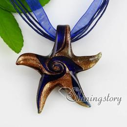 starfish glitter swirled pattern glass pendants Fashion jewelry Fashion necklace high fashion jewelry Mup160