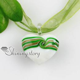 heart glitter with lines swirled pattern lampwork murano Italian handmade glass necklaces pendants