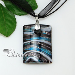Wholesale oblong with lines silver foil lampwork Italian handmade murano glass necklaces pendants jewelry cheap fashion jewellery Mup176