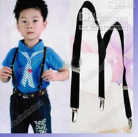 Wholesale Hot Sale Children Clip on Adjustable Pants Y back Suspender Braces Elastic Kids Black