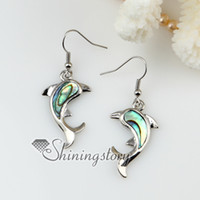 Wholesale animal sea turtle dolphin patchwork abalone earrings shell jewellery Cheap fashion jewelry
