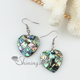 heart moon olive round patchwork seawater rainbow abalone shell mother of pearl dangle earrings