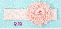 Wholesale Rose Silk Flower Elastic Baby Hairband Baby Headbands Baby Flower Hair Accessories Colors Free shi
