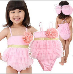 Wholesale Baby Girls Swimsuit Romper Swimwear pink flower kids bathing suits TOP