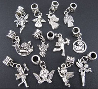 Wholesale Mixed Tibetan Silver Angel Dangle Charms Beads Fit European Bracelet Jewelry DIY