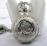 Unisex animal shapes length - Small size Rose pocket watch necklace rose necklace chain length cm