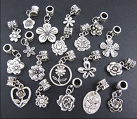 Wholesale New Styles Tibetan Silver Flowers Dangle Alloy Big Hole Beads Fit European Charm Bracelet Jewelry DIY