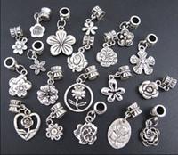 al por mayor pulseras tibetanas-Nueva 19Styles de plata tibetano de las flores cuelga la pulsera cabida los granos del encanto de la pulsera europea apta de la joyería DIY
