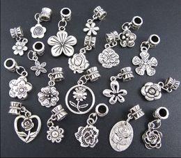 Wholesale New Styles Tibetan Silver Flowers Dangle Alloy Big Hole Beads Fit European Charm Bracelet Jewelry DIY