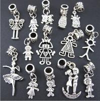 Nuevo Tibetano Plata Muchacho Y Muchacha cuelga agujero grande cupieron la pulsera europea del encanto de la joyería DIY