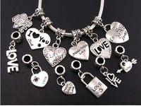 Charms heart charm - 12Styles Mix Tibetan Silver LOVE Heart Big Hole Beads Fit European Charm Bracelets Jewelry DIY B319 B945