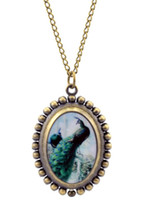 antique watch face necklace - oval bronze peacock pocket watch necklace animal on the face sweater necklace