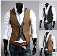 Wholesale Fashion plaid two men Gilet Male Vests