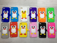 Wholesale 3D Cute Penguin Cartoon Silicone Soft Case for Apple Ipod TOUCH