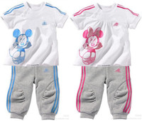Wholesale New Minnie mickey children suit children s T short sleeve children s pants Children