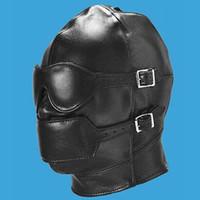 Wholesale Drop Shipping Leather Gimp Mask Hood Blindfold Fetish Bondage Sex Headgear Leather Hoods