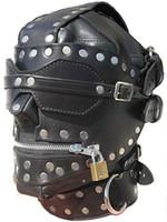 Wholesale Luxury Full Leather Bondage Hood Gimp Mask with Blindfold amp Locking Mouth Zip