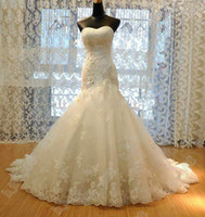 Sweetheart beaded straight - 2016 New Wedding Dress Tulle Strapless Straight Neckline Lace Empire Bow Beaded Mermaid Bridal Gown Wedding Dress